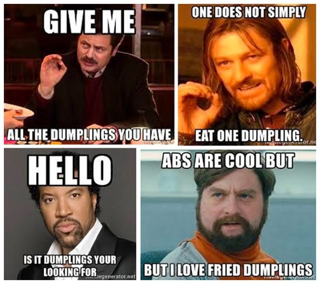 What's better than four dumpling memes? Easy, $1 dumplings all Monday! Come and take a dump or two with us! 🥟#dumplings #dumpling #dinner #gyoza #tasty