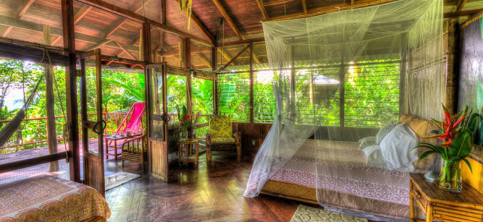 - Luxury Secluded Jungle Casita with Double Occupancy - $2200 per personbreezy, luxurious, private tree-house accommodation, private deck with hammocks and deck chairs, natural stone shower (some with outdoor shower), in-house designed sustainable bamboo furnishings