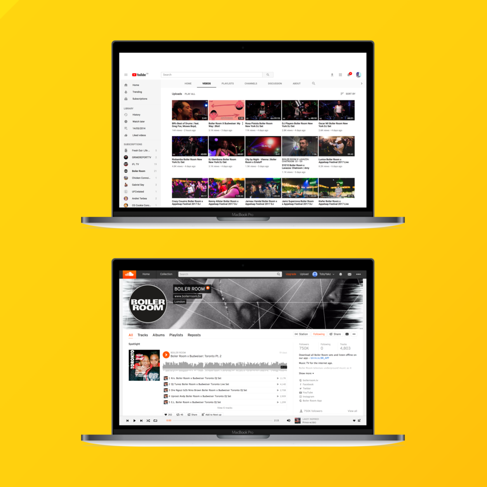 Youtube & Soundcloud  - Through regular conversations with our users we knew Youtube and Soundcloud were their primary destination to consume our archived content.
