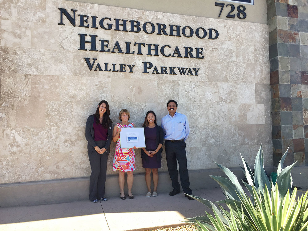 Karina Moyano, Health Systems Manager-American Cancer Society, Tracy Ream (outgoing CEO), Melissa Barajas, RN (Director of Population Health), Jesse Nodora, DrPH (ACS Desert Coastal Area Board, ACS Researcher, UC San Diego Moores Cancer Center)