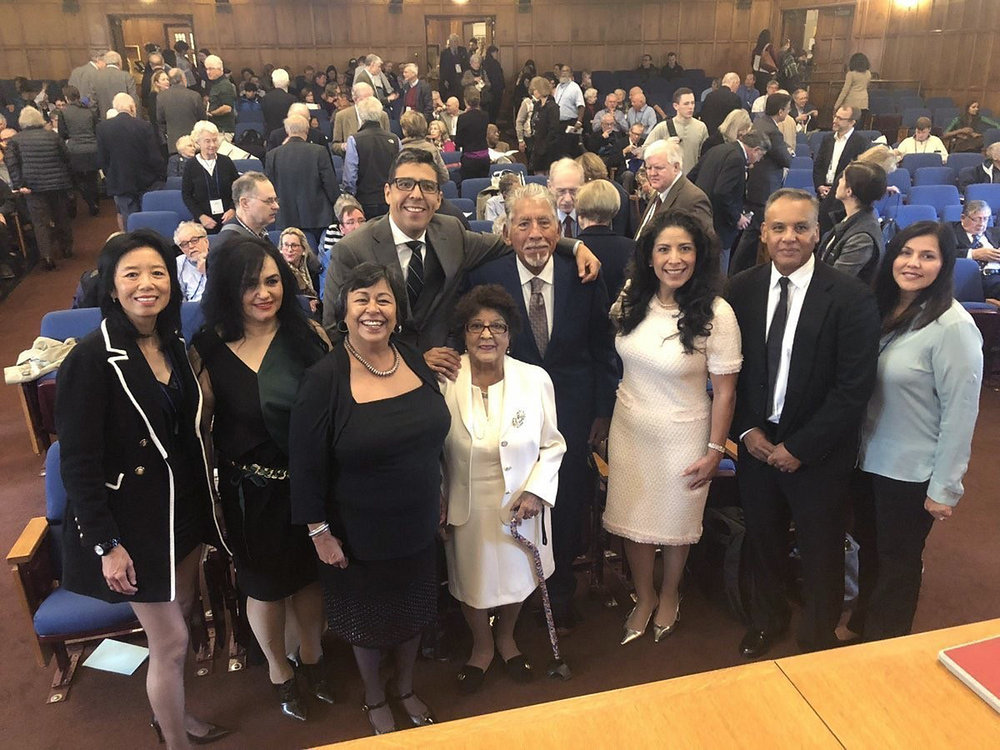 CPCA CEO Receives 2018 Award of Merit from Yale Law School - CPCA's CEO, Carmela Castellano-Garcia, received the 2018 Award of Merit from Yale Law School in a ceremony at the law school campus in New Haven on October 20th. She was joined by her parents, Alcario and Carmen, as well as her brother Armondo and sister-in-law Pricilla and her husband Angel Garcia along with close friends Felicia Strati and Jaime Chan. She was also joined by CPCA board member Jane Garcia, CEO of La Clinica de la Raza and a Board Member of The California Endowment. Jane is also a Yale alumni and a member of the first full class of women that were admitted to the school in 1971.