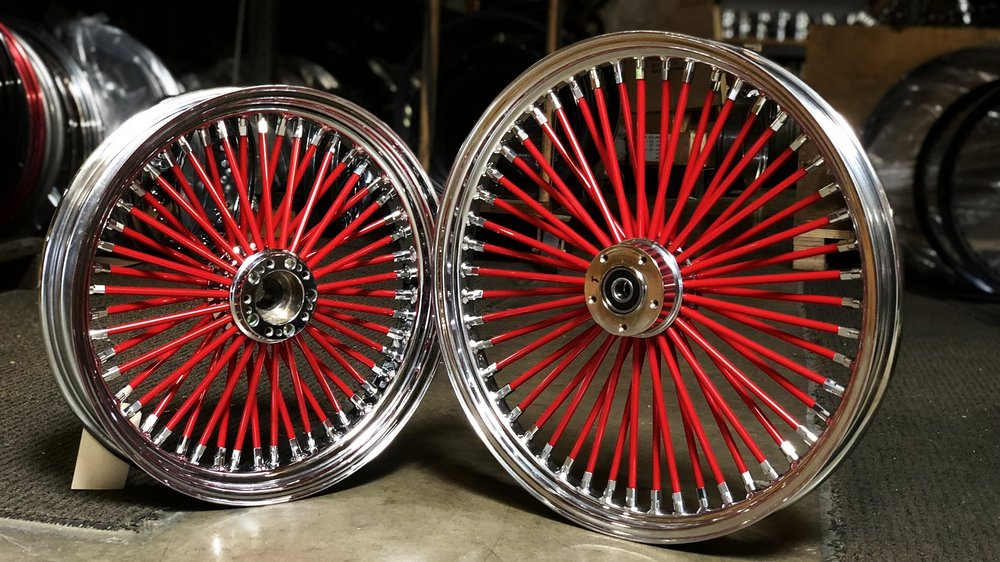 21x2.15 & 18x3.5 Fat 50  $1,225.00* - Chrome Step Lip, Chrome Nips, Red SpokesFitment: Narrow Glide (Dyna, Sportster, etc.)