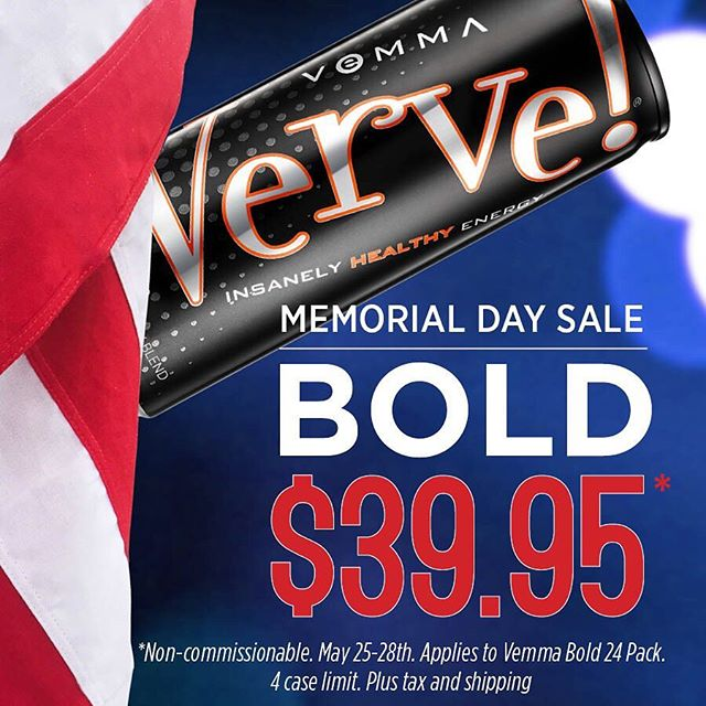 From all of us at Vemma, we want to wish you a Happy Memorial Day weekend! . To help you have a healthier, supercharged holiday weekend, we are announcing our first 4-Day Verve Bold Sale! Huge savings start RIGHT NOW and continue through May 28th. This sale will feature a 24-pack of Bold for only $39.95! That's almost 50% off our regular Retail price! . Enjoy our premium #insanelyhealthy energy drink that's packed full of vitamins, minerals, antioxidants, mangosteen as well as 120mg of caffeine. Bold gives you the energy and nutrition you want with only 50 calories. It truly is healthy energy in a can. . Visit Vemma.com or click on the post to take advantage of this epic sale!