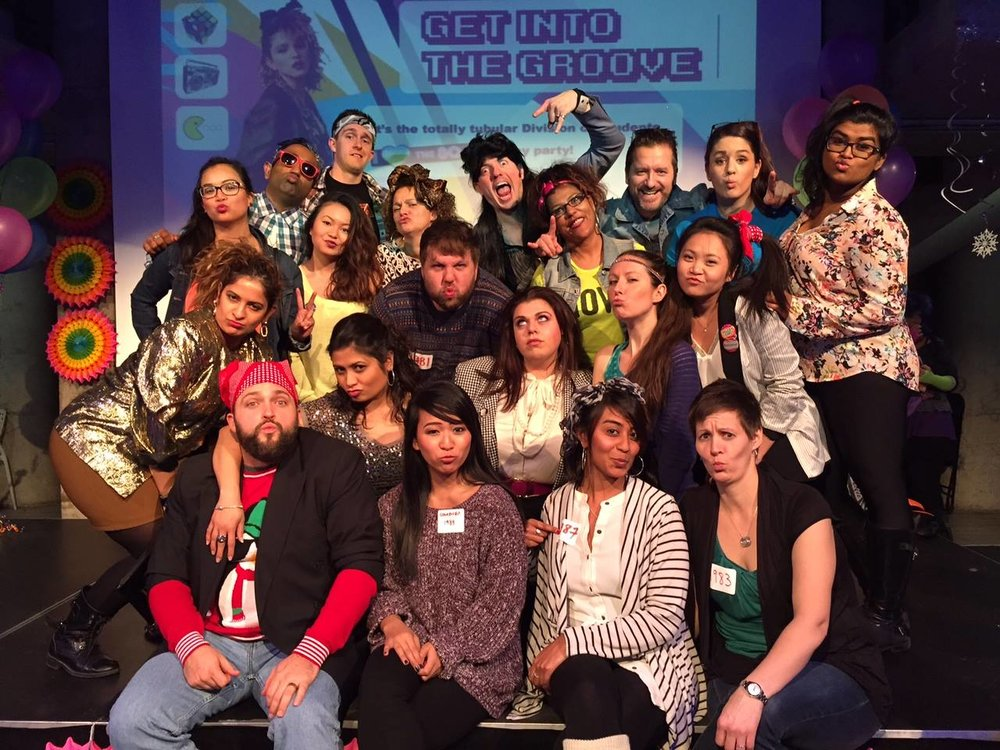 Me and my amazing co-workers at an 80/90's themed Christmas party in 2015 <3