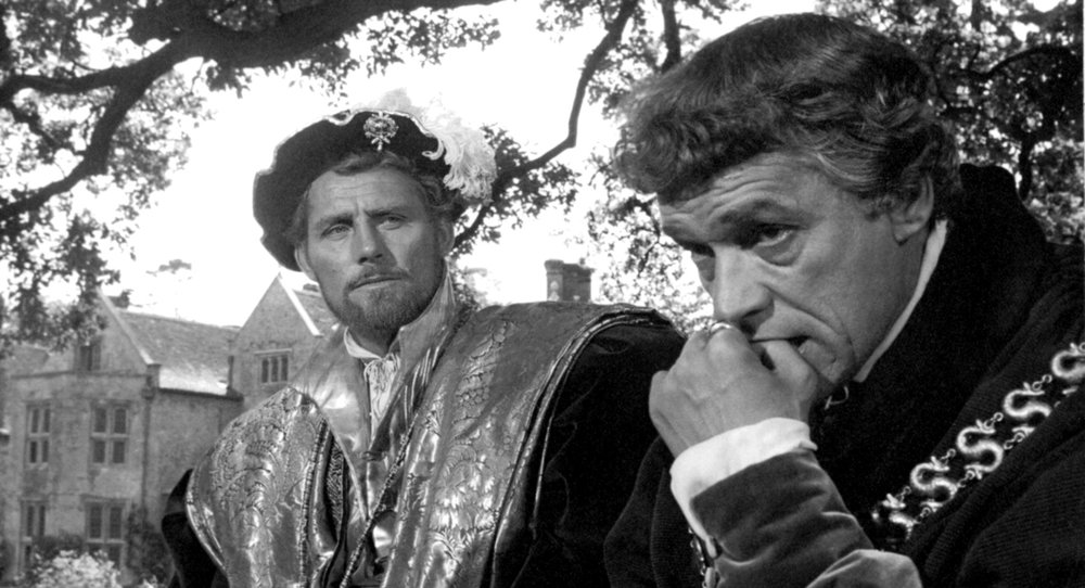 Robert Shaw as King Henry VIII and Paul Scofield as St. Thomas More in  A Man for All Seasons