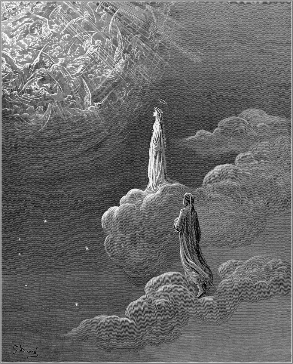 Beatrice leads Dante into the heights of heaven, an engraving by Gustave Doré
