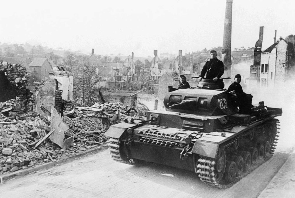 A German tank just before the surrender of France in June 1940.