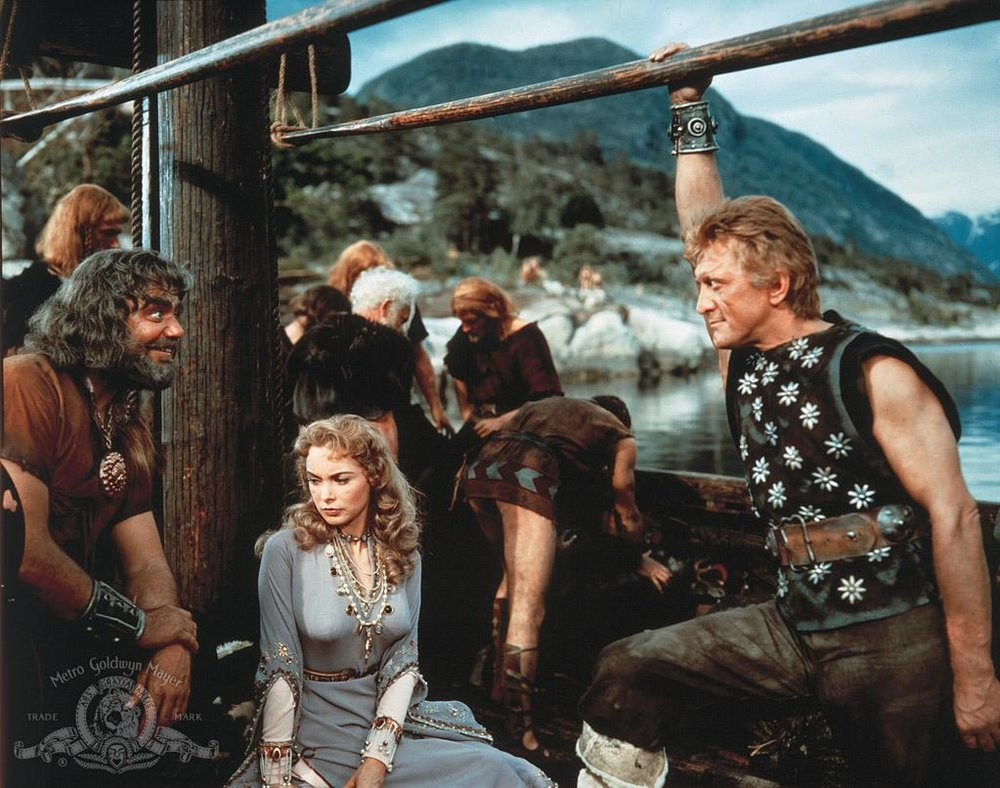 Ernest Borgnine as Ragnar, Janet Leigh as Morgana, and Kirk Douglas as Einar in  The Vikings