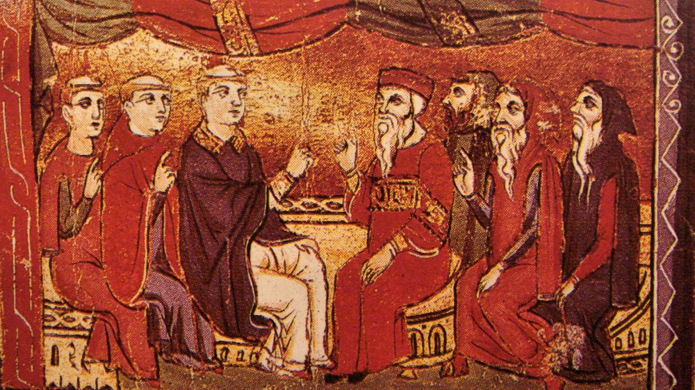 Catholic priests and Eastern Orthodox patriarchs in debate, from a late 13th century manuscript