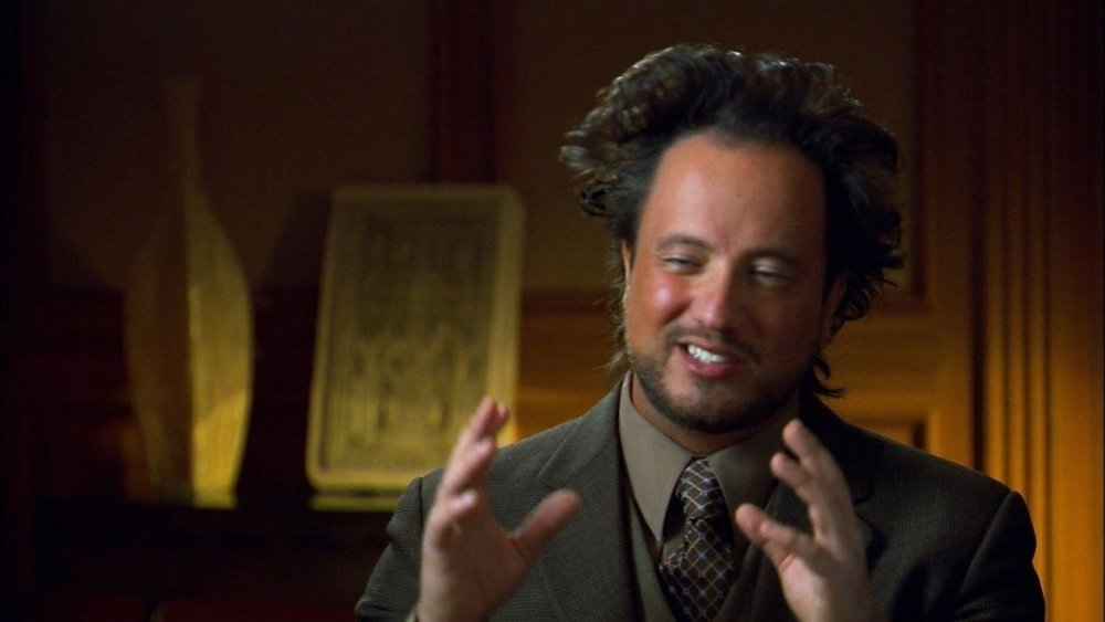 Giorgio Tsoukalos on The History Channel's  Ancient Aliens . The pose that launched  a thousand memes .