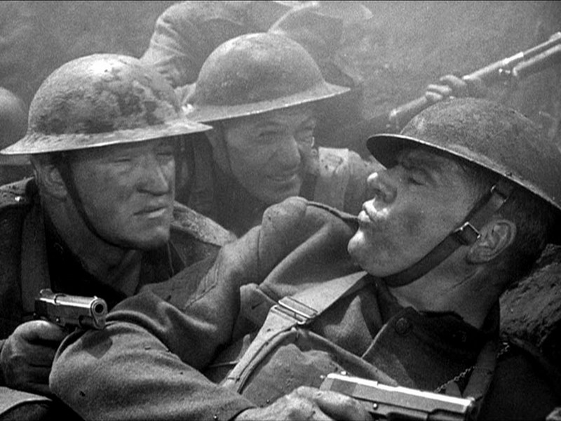 Joseph Sawyer, Gary Cooper, and Pat Flaherty in  Sergeant York 's unusually gritty battle sequence.