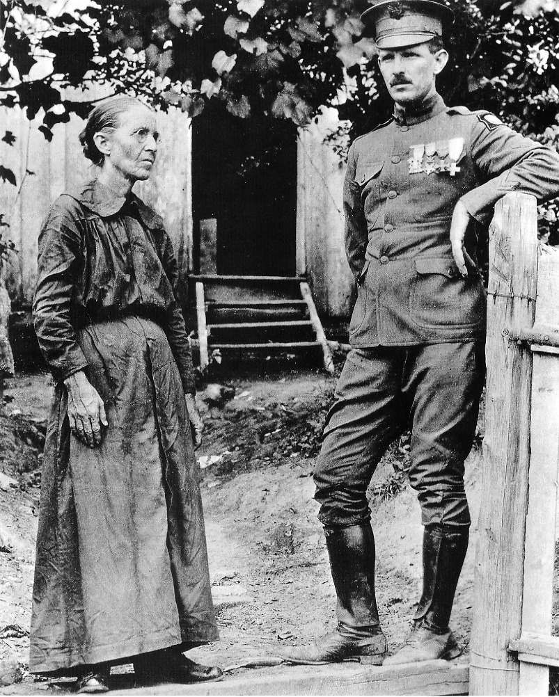 Alvin C. York and his mother at home in Pall Mall, Tennessee just after World War I