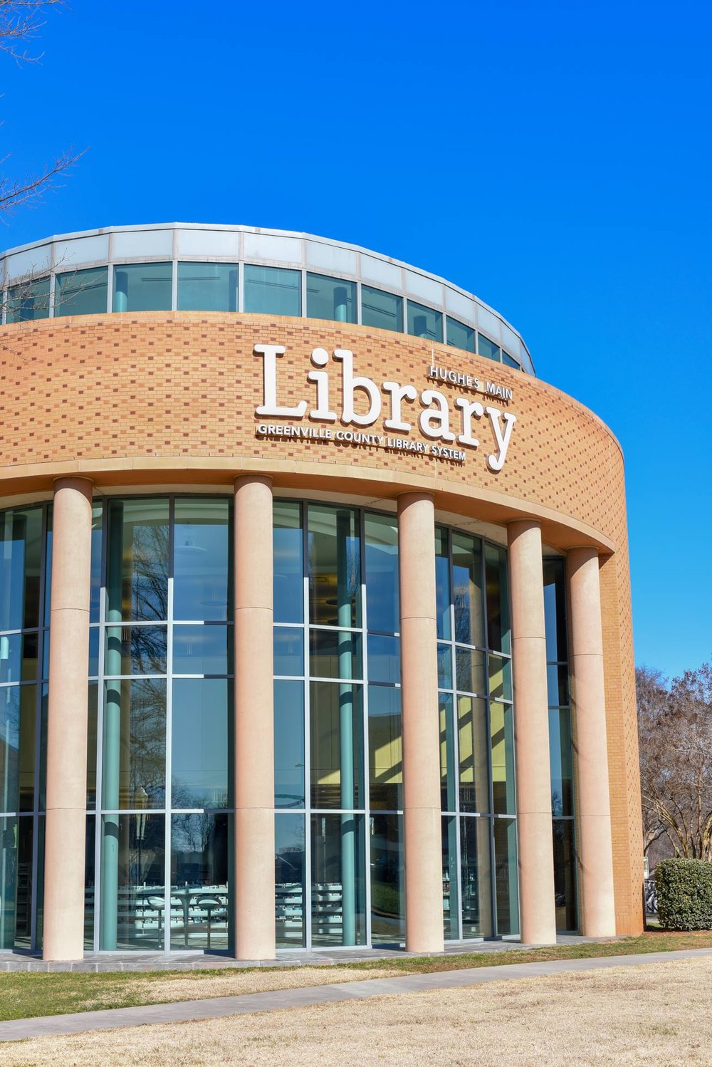 The Hughes Main Library in downtown Greenville