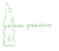 "logo of green bottle says ""greensoda productions"""