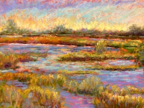 Day At The Marsh  Pastel