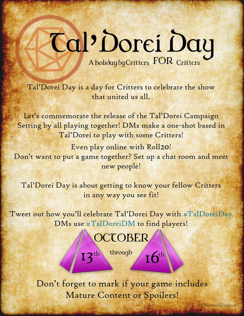 Tal'Dorei Day 2017 announcement poster.