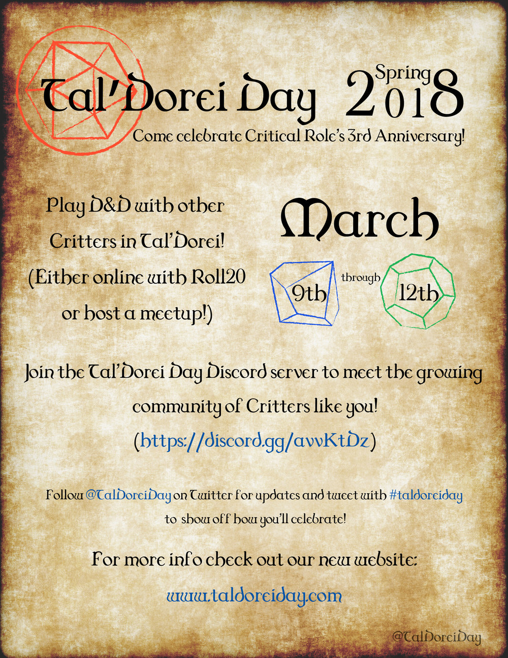 Tal'Dorei Day Spring 2018 Flyer