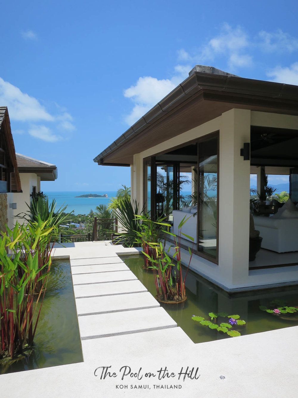Villa in Thailand: Welcome to The Pool on the Hill, a family villa in Koh Samui, Thailand. The villa entrance features antique Chinese gates, a beautiful pond and ocean views | #kohsamui #thailand #samui #travel #privatevilla