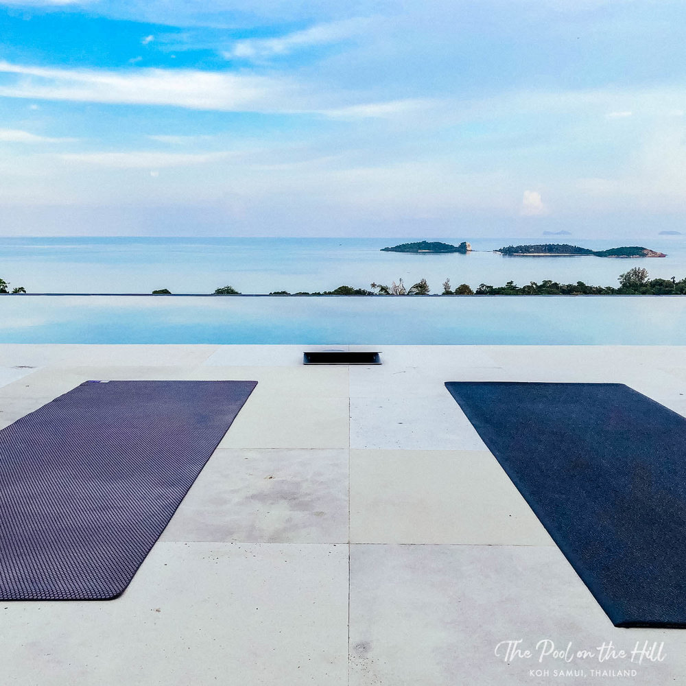 Poolside yoga near Choeng Mon Beach in Koh Samui, Thailand