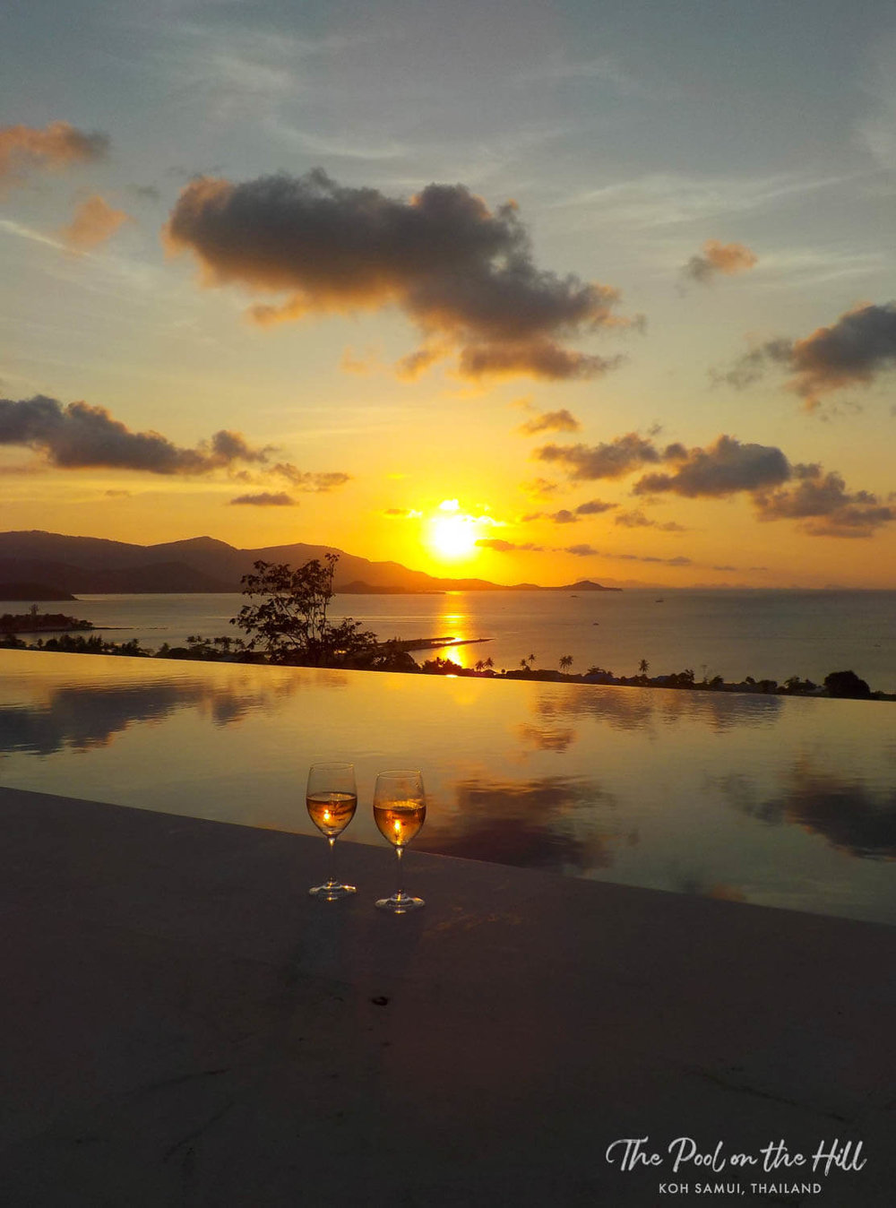 Pool villa Samui: Sunset towards Ang Thong Marine Park, as seen from The Pool on the Hill