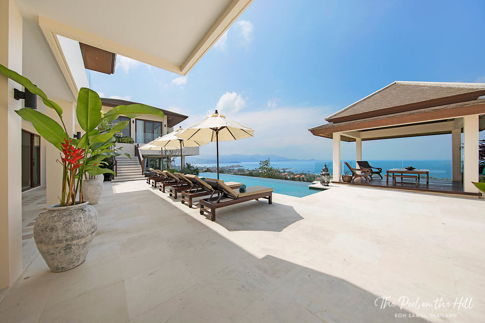 Koh Samui pool villa: Enjoy tons of space on the pool deck and your own private infinity pool at The Pool on the Hill. The pool is chlorine-free and includes ocean and sunset views. |
