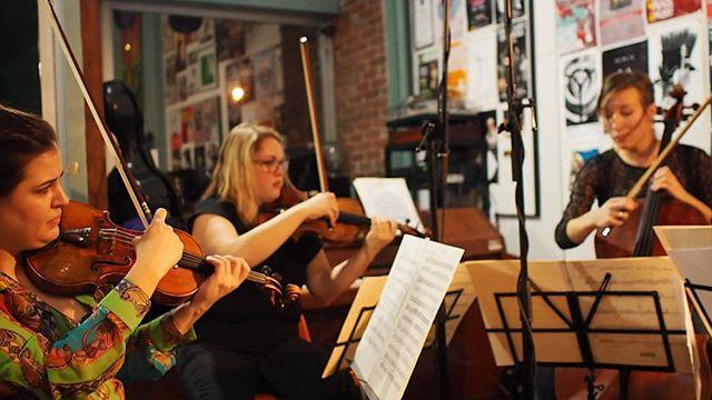 Jessica, Carissa, Julia :) #ottawa #ottarts #ottmusic #livemusic #myottawa #loveottawa #violin #cello #vinyl #newmusic #stringquartet #philipglass #wellingtonwest #hintonburg