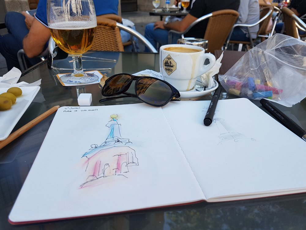 Travel Sketchbook - On a visit to Madrid, I made sure to keep up my blind contour drawing practice. It made a great travel souvenir.
