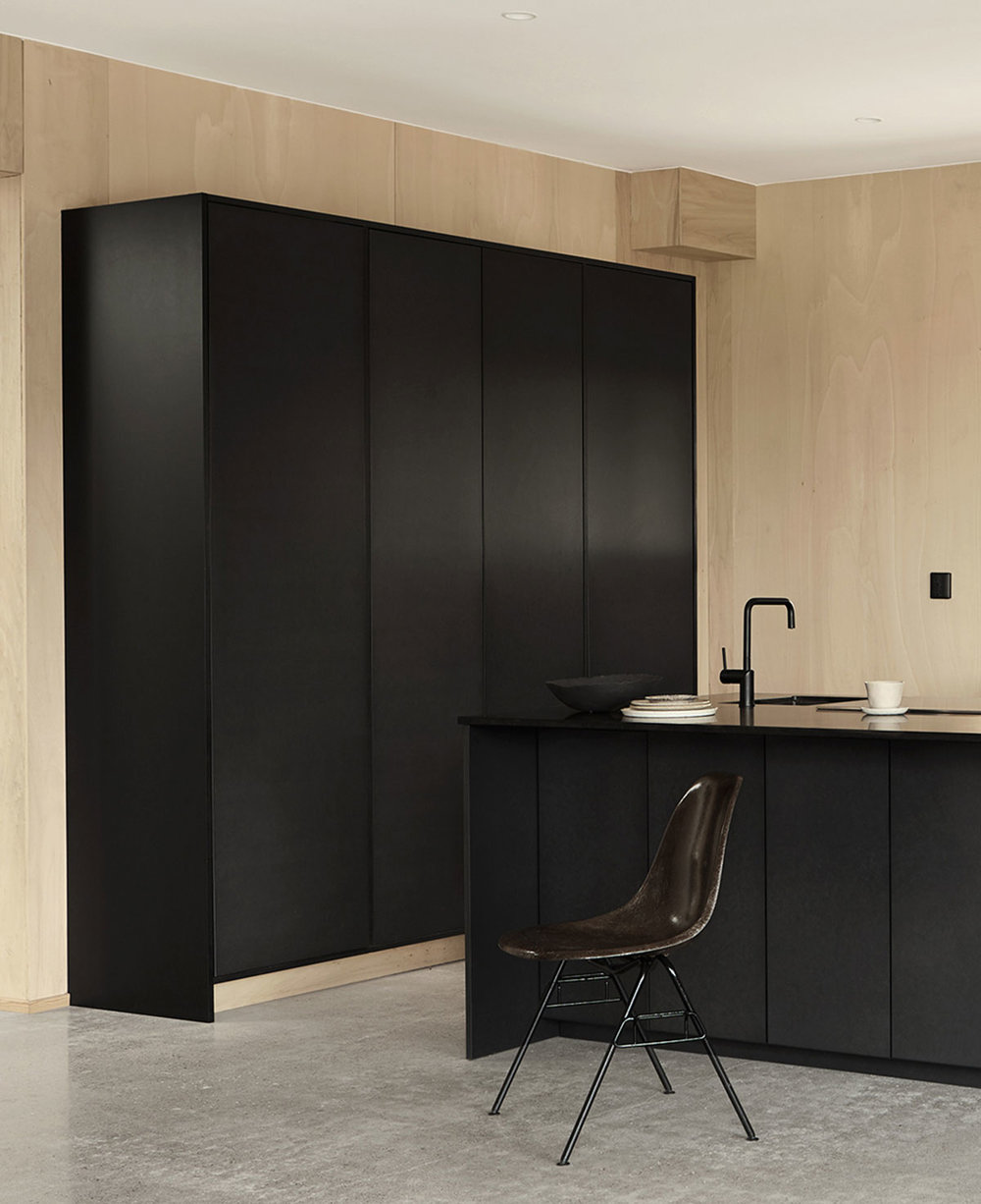 Bespoke modern valchromat kitchen design for Emma Bernhard