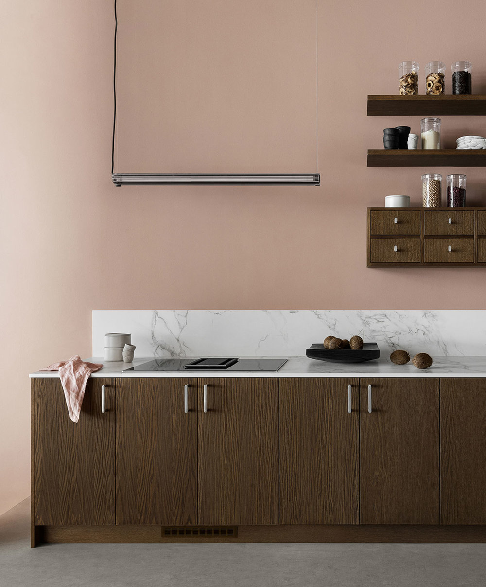 Food pharmacy modern kitchen with pink walls