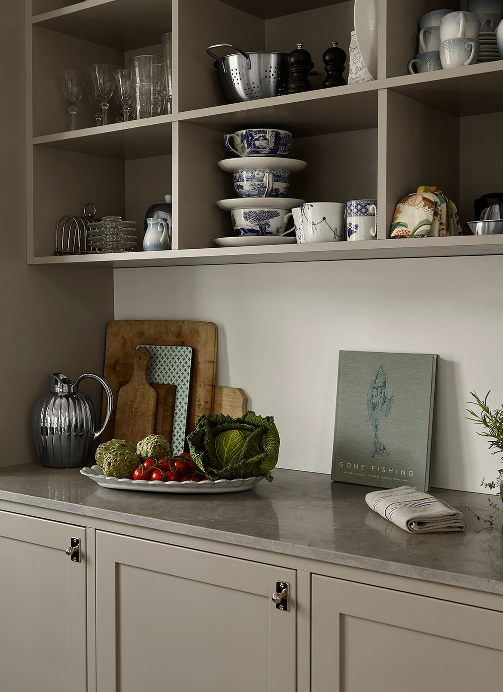 Johanna Bradfords blog, kitchen in grey cabinets and limestone countertop