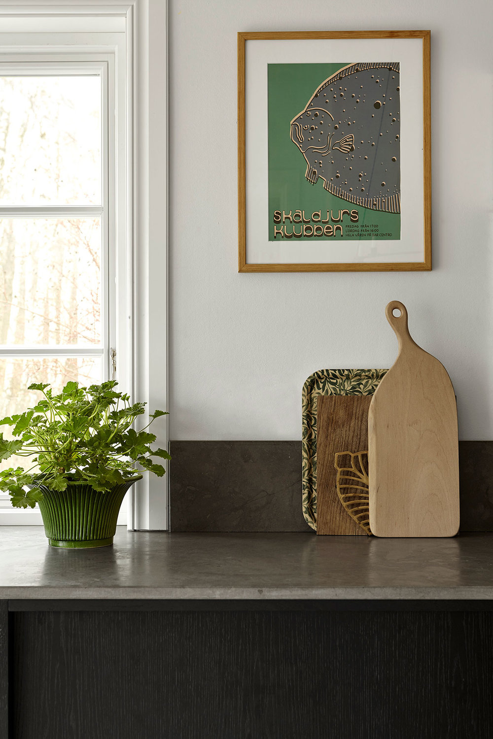 Johanna Bradford kitchen, black oak kitchen inspiration with limestone countertop