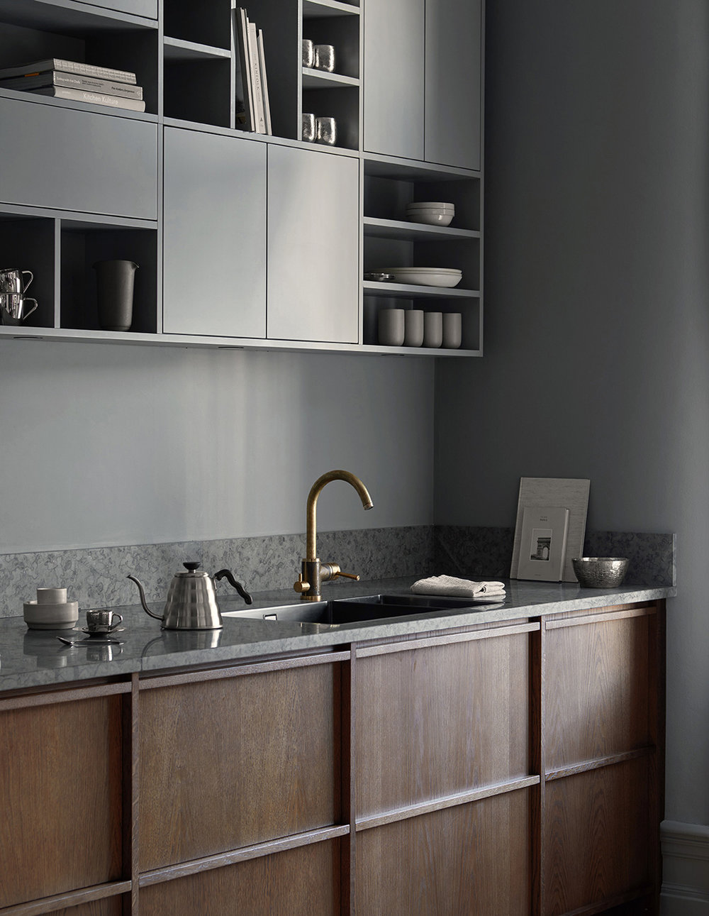 in frame wooden minimalist kitchen with grey cabinets