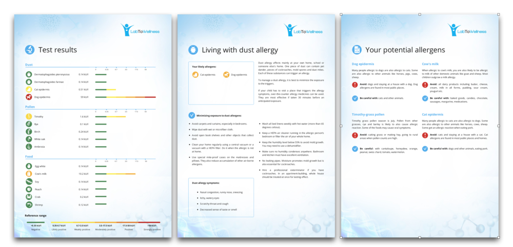 Allergy laboratory testing patient reports