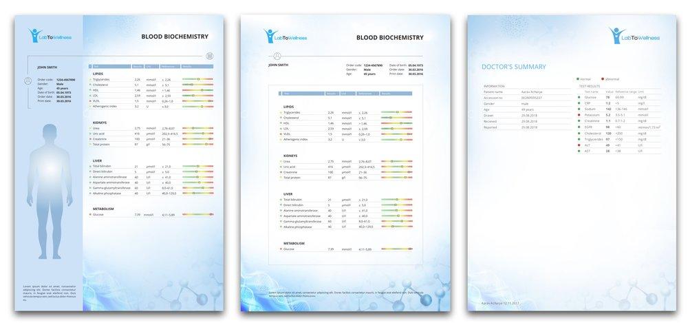 LabToWellness laboratory report doctors page template