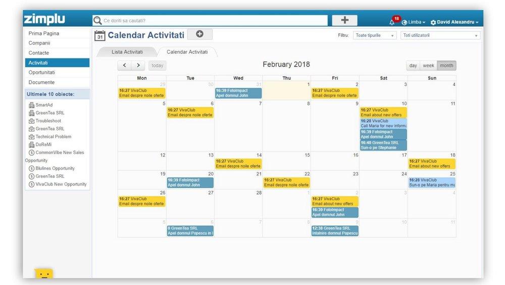 Calendar Activitati - Zimplu CRM