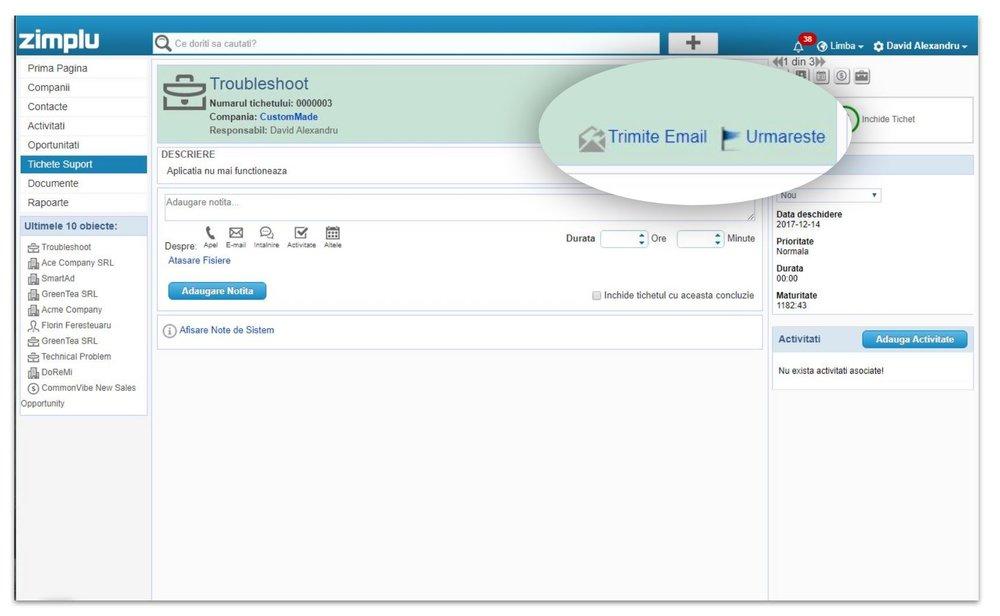 Trimite Email - Zimplu CRM