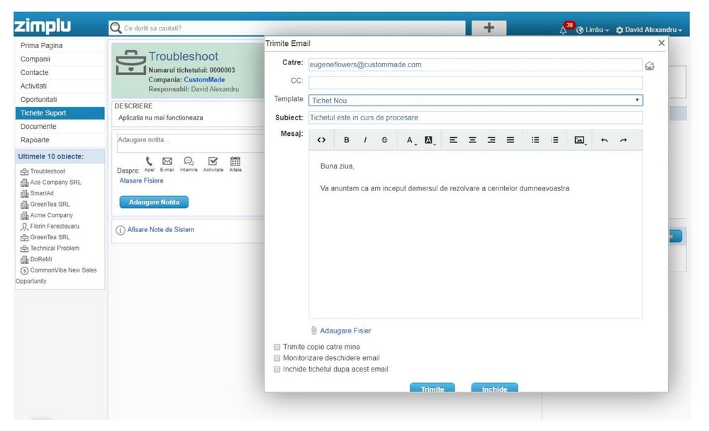 Template Email - Zimplu CRM