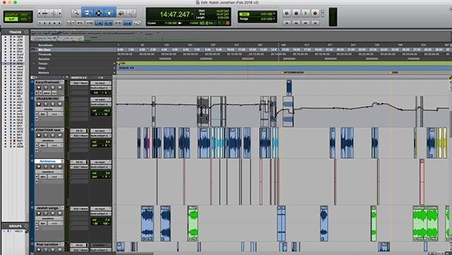 This colourful screen shot is the ProTools session of our next episode with Jewish Rabbi, Jonathan Karen-Black. Episode out tomorrow #podcast #auspodcast #people