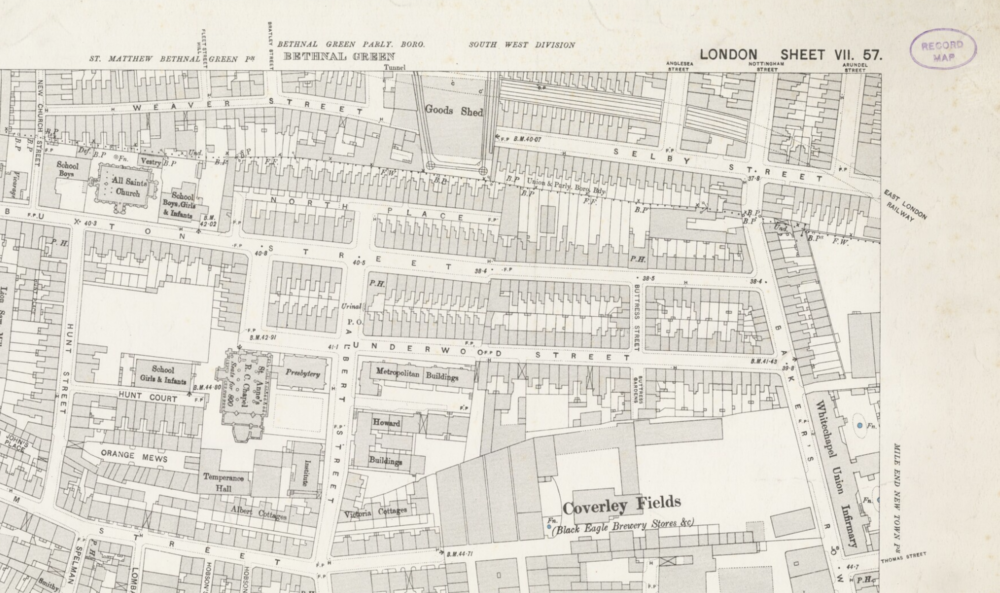 The 1893-96 Ordnance Survey map of Spitalfields — released by the National Library of Scotland.