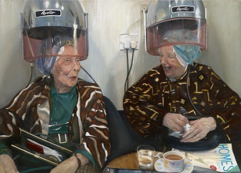 'Mrs Damon and Mrs Healey (2nd version)' by Teri Anne Scoble. Oil on canvas, 50x70cm