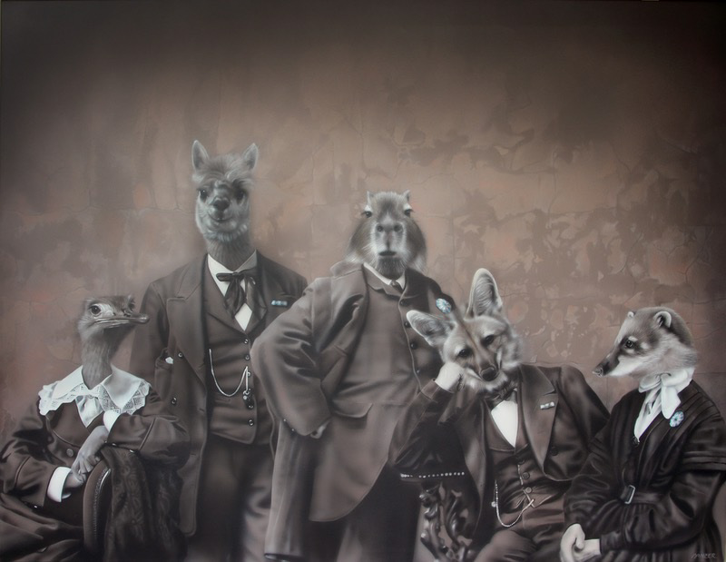 'La tertulia / The gathering' by Gisela Banzer. Acrylic on canvas, 100 cm x 130 cm.