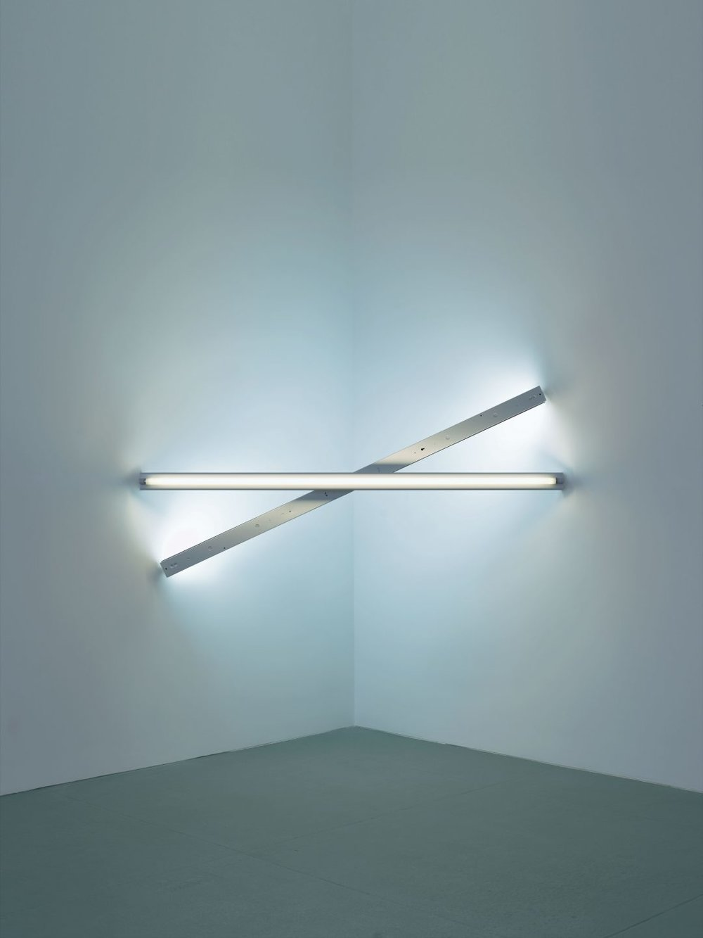 Dan Flavin untitled (to Cy Twombly) 1, 1972 cool white and daylight fluorescent light 8 ft. (244 cm) wide across a corner © 2016 Stephen Flavin/Artists Rights Society (ARS), New York; courtesy of David Zwirner, New York/London