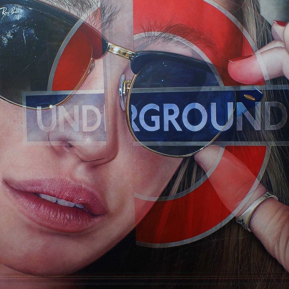 'Underground Distortion lines' Simon Hennessey, Acrylic on Canvas 107cmx 107cm 2015
