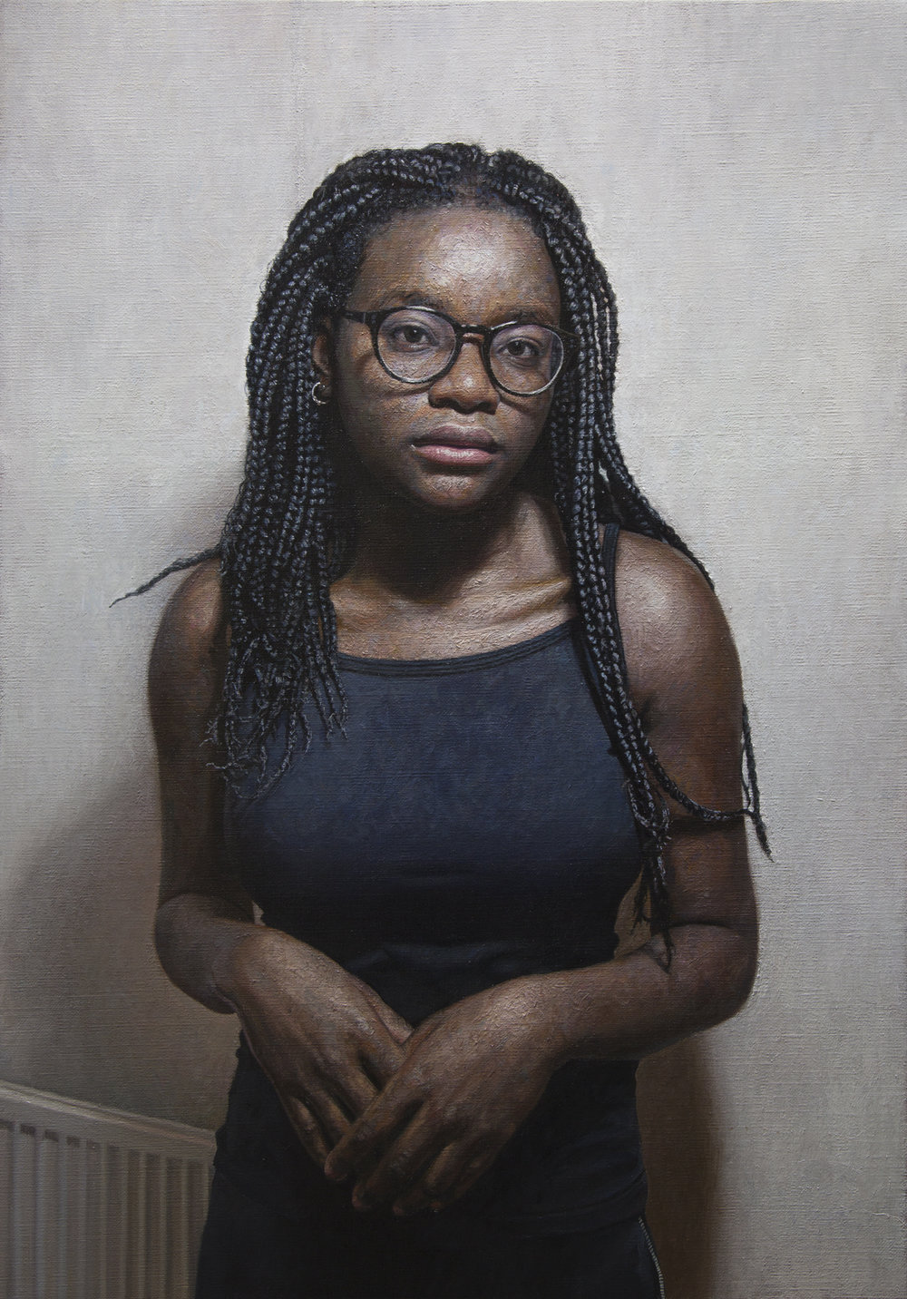 'Eniola Sokalu' by Mark Roscoe Oil on Linen 26″ x 36″ inches.