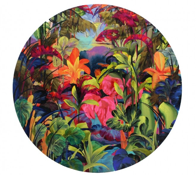 'Caraili' by Orlanda Broom Acrylic, resin and varnish on canvas 120cm diameter 2015
