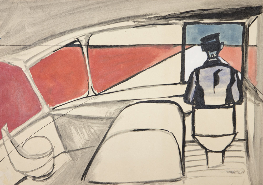 'Chauffeur no. 1144' Andrzej Wroblewski Watercolour, ink, paper, 29.7 x 42 cm, not dated Private collection, courtesy of the Andrzej Wróblewski Foundation www.andrzejwroblewski.pl (Exhibited in DE. FI. CIEN. CY at Drawing Room, 2015)