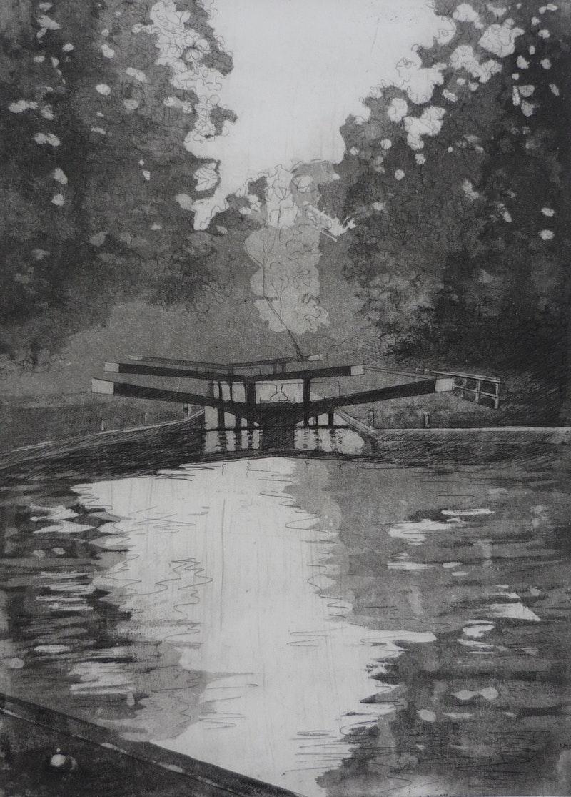 'Hanwell Locks', Etching on Paper, 53 cm x 41 cm x 0 cm,  Jessica Rose