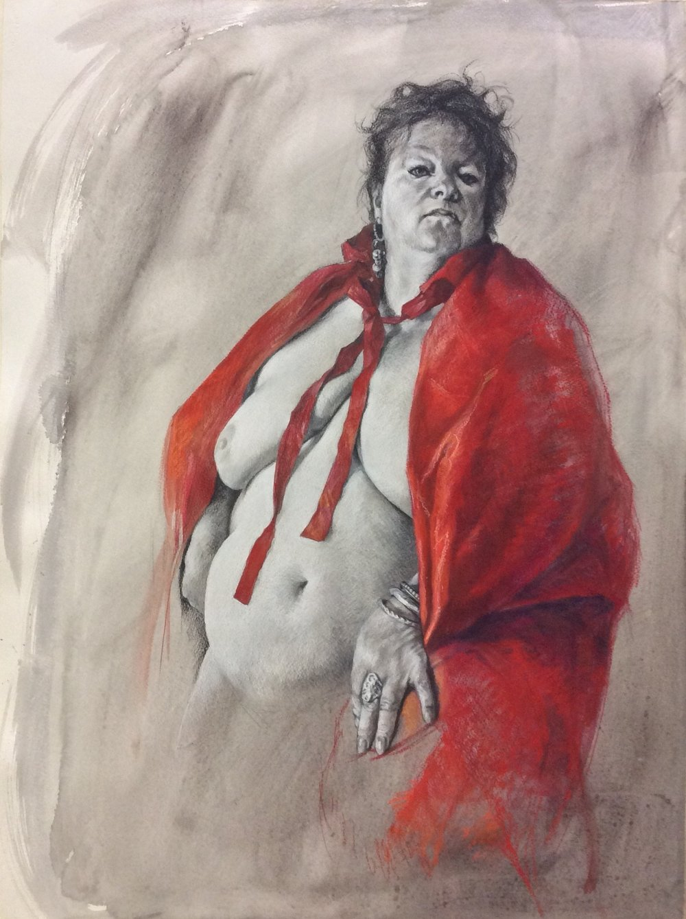 Jennifer Goddard, Bull fighter, Charcoal, pastel, watercolour on paper, height 76 cm x width 56 cm x .25 cm,  http://www.jgoddardartist.com