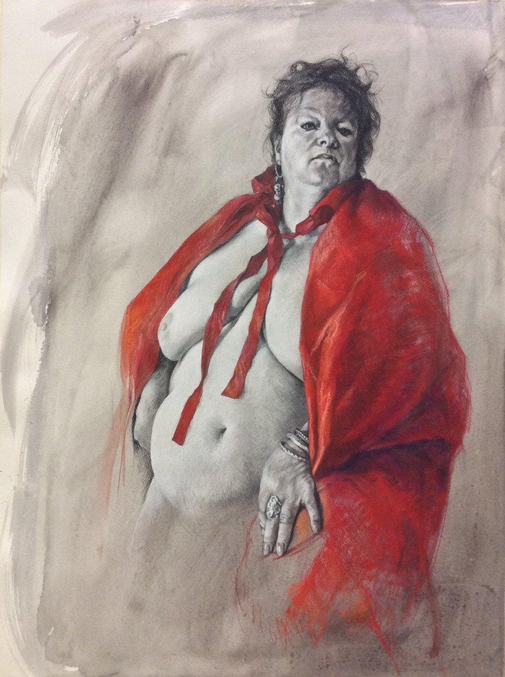 Jennifer Goddard, Bull fighter, Charcoal, pastel, watercolour on paper, height 76 cm x width 56 cm x .25 cm,  http://www.jgoddardartist.com