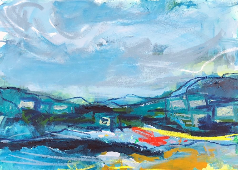 EMILY POWELL, Exe Estuary, Acrylic and oil bar, 600mmx840mm,